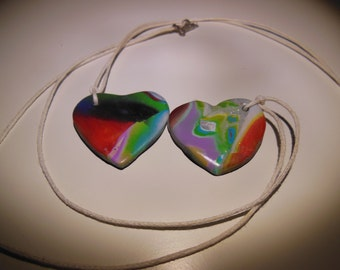 Beautiful chain with polymer clay heart pendants