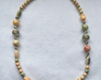 Pastel and Silver Beaded Necklace