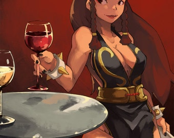 Street Fighter V Chun Li Anime Pinup Art Print
