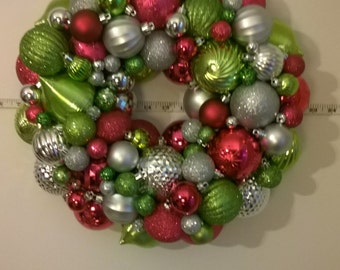 Christmas wreath, bright, fun colors! Hot pink, bright green and silver