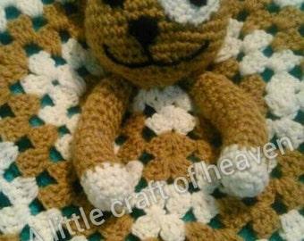Hand crocheted Teddy bear snuggle blanket