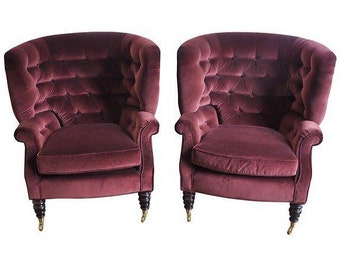 BAKER Furniture Burgundy Tufted Wingback Chairs