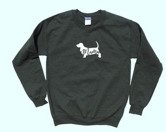 "Basset Hound ""MAMA"", Crewneck Sweatshirt"