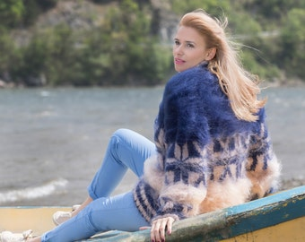 MADE to Order Blue Beige Handmade Mohair Sweater Fluffy Warm Pullover Fuzzy Jumper Hangestrickte by TanglesCreations