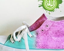 Glitter sneakers obmre effect, sparkly shoes, custom shoes in pink and turquoise, prom party glossy sneakers, ombre hi tops, glitter shoes