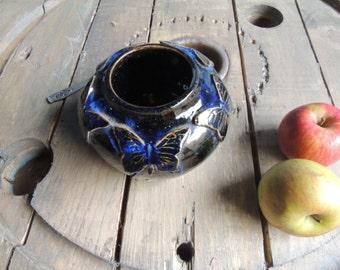 Butterfly antique blue stoneware vase
