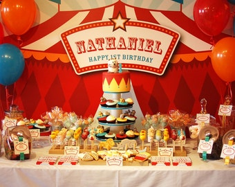 Carnival Backdrop | Circus Party Banner | Poster | Signage | Personalised | Printable ONLY | Birthday Backdrop