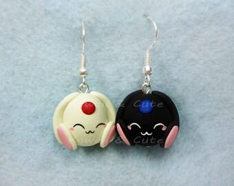 Earrings White  and Black Mokonas - Clamp
