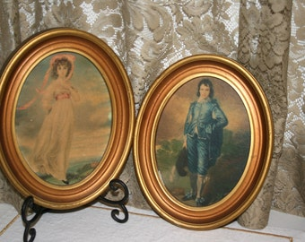 Pinkie and Blue Boy Pictures//Framed in Oval Frames//Vintage Pinkie and Blue Boy Pictures
