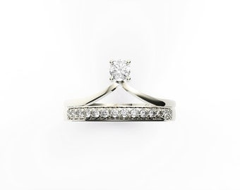 Engagement ring & wedding band, 14K white gold with diamond engagement ring,Anniversary ring