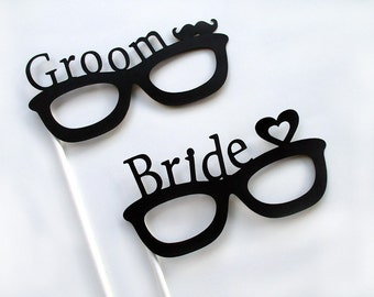 Bride and Groom Glasses - Photo Booth Props - Wedding Party Photo Props - Photobooth Props - Bride & Groom Props - FULLY ASSEMBLED - 2 Pc