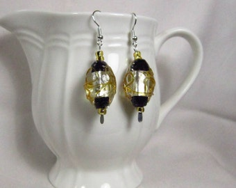 Gold/Black/Silver Lampglass Dangle Earrings