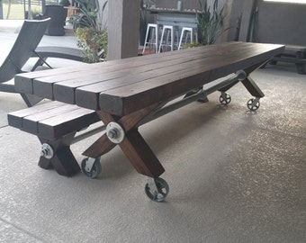 Farmhouse Industrial Table and Bench
