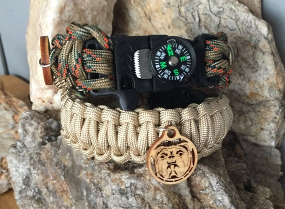 Survival  Paracord Bracelet , with the newly designed compass / firestarter buckle,