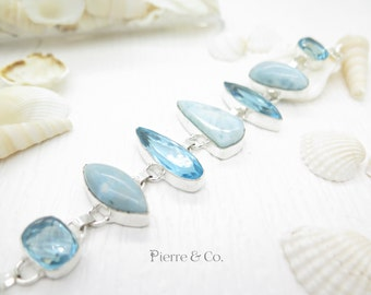 Swiss Blue Topaz and Larimar Sterling Silver Bracelet