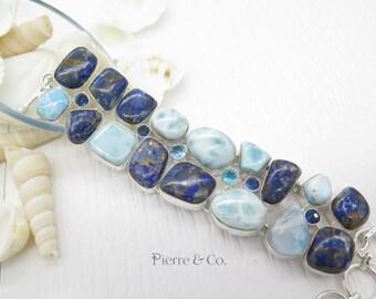 Larimar Boulder Opal and Blue Topaz Sterling Silver Bracelet