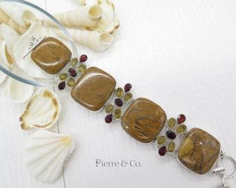 Brown Jasper Citrine Garnet Sterling Silver Bracelet