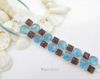 Blue Topaz and Amethyst Sterling Silver Bracelet