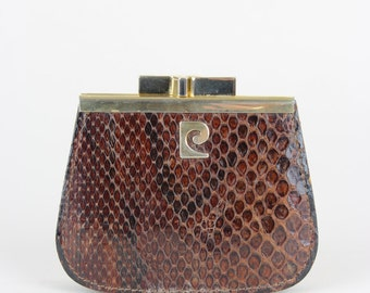 PIERRE CARDIN 1970s Vintage Coin Purse Chocolate Brown Snakeskin Pattern Leather