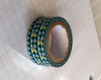 Washi Tape Sample #39 - Green and Yellow triangles