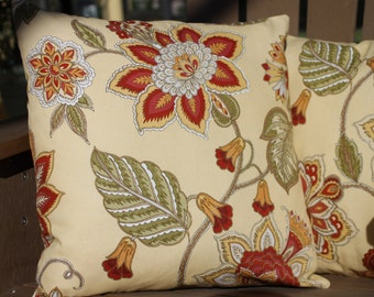 Red, yellow and green pillow cover 16X16 - 2 available, but contact me for additional sizes as I have extra fabric