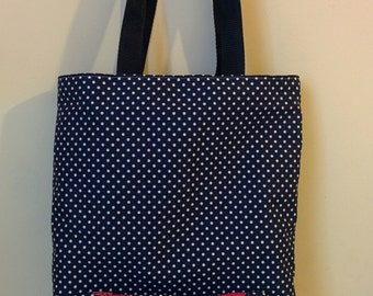Awesome Tote bag made with a beautiful blue & white polka dots fabric
