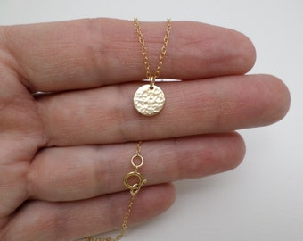 """Small Gold Necklace. Free Shipping. Gold Coin Necklace. Hammered Circle Disc. Gold Filled Dot. Dainty Delicate Pendant. Gift For Her.  3/8"""""""