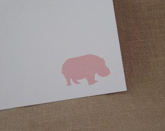 6 Hippopotamus mini cards with envelopes. Hippo note cards. Hippo mini cards.