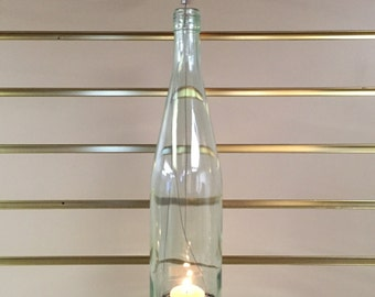Wine bottle lantern- clear, wired fishnet bottom