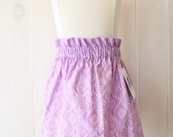 Feather Ruffle Skirt - girls skirt, cotton skirt, skirt, purple, white,