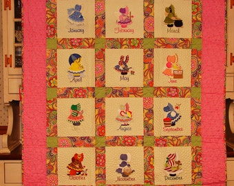 Sun Bonnet Sue months of the year Quilt