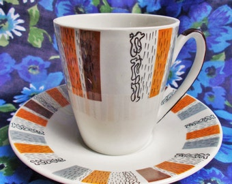 Retro Coffee Cup and Saucer - Costa Brava - Burleigh Ware by Burgess and Leigh - 60's to 70's - Made in Burslem, England - Used