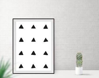 Art print / / triangles / / black