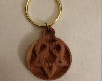 Heart Pentacle (Heartagram) Wood Red Cedar Key Chain