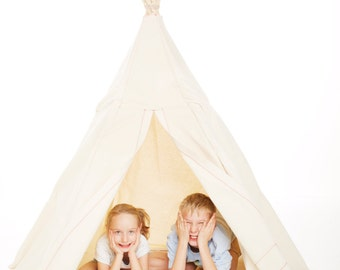 Children's canvas teepee play tent with 6 bamboo poles- ready to ship!