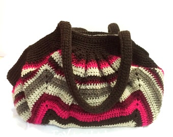 Multi-colour Crochet Fat bottom Bag- Large Crochet Swag Hobo Bag, Selena from JoytoHands Bag Collection