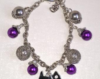 GJ Hazy Days silver and purple charm bracelet with Toto charm
