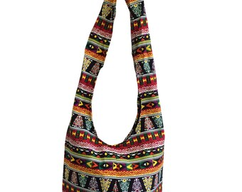 Shoulder Sling Bag, Hobo, Tribal pattern, Messenger Bag