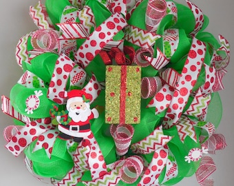 Mesh Christmas Wreath,Green christmas wreath,Santa christmas wreath,green and red Santa,present wreath,gift wreath,santa wreath,candy wreath