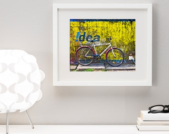 Fine Art Print, Street Photography, Bicycle and Bright Yellow Wall with Graffiti in Cochin, India