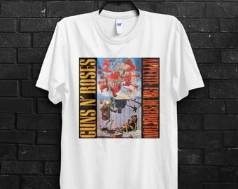 Guns And Roses Appetite For Destruction Men T-Shirts, 80's Rock And Roll Tees, Hair Metal, Band Shirts.