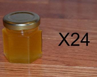 Lot of 24 2oz Hexagonal Jars Of Honey.