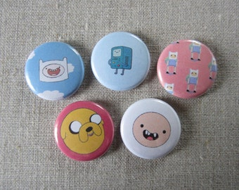 adventure time (finn, jake, and b-mo) 5 pack pinback buttons