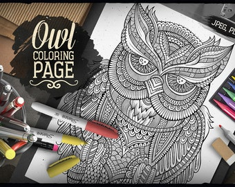 OWL COLORING PAGE - Adult Coloring - Printable Coloring book - Coloring sheet - Hand drawn Owl Bird - Doodles Animal - Digital - Antistress