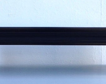 Traditional Oak TV Riser Stand Crown Molding in Black