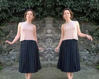 SALE 30% OFF BURBERRYS Wool Skirt Designer Skirt Pleated Skirt Navy blue plaid Checkered skirt Vintage skirt M size Midi skirt Burberry