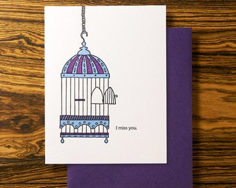 Flew the Coop - Letterpress I Miss You Card