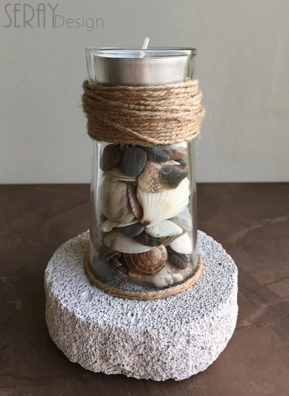 Lighthouse Natural Stone : Seashells decor lighthouse pumice stone by seraydesign