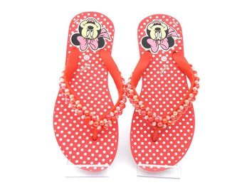 Red Mini Mouse Flip Flops with red and white beads