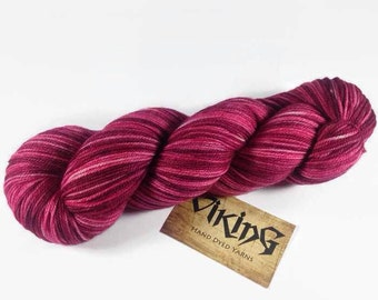 Hand Dyed Sock Yarn - Superwash Merino/Nylon/Cashmere in 'Bordeaux'